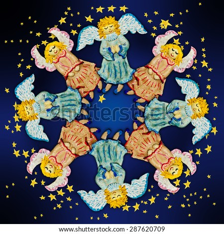Angels.Figures of angels with wings on a dark background.Ornamental compositions. - stock photo