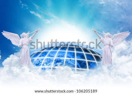 Angels heaven and earth background : Elements of this image furnished by NASA - stock photo