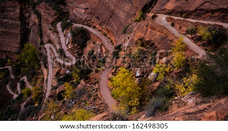 Angels Landing trail in Zion National Park in Utah, United States. - stock photo
