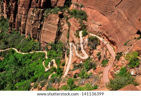 Angels Landing trail seen from above in Zion National Park, Utah, USA - stock photo