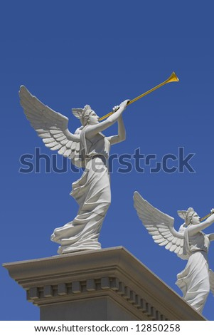 Angels monument at Caesars Palace hotel in Las Vegas - stock photo