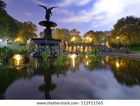 Angels of the Water Fountain at Bethesda Terrace in New York City's Central Park. - stock photo
