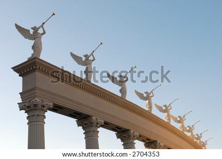 Angels with golden trumpets - stock photo