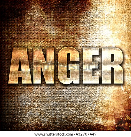 anger, 3D rendering, metal text on rust background - stock photo