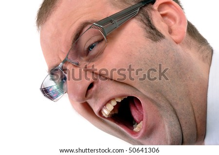 Anger management. Businessman screaming, angry face and wide open mouth