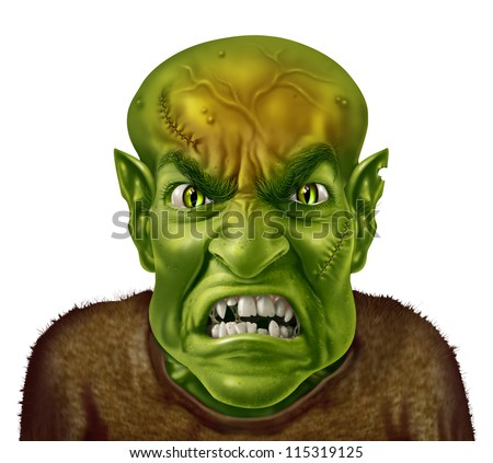 Anger Management concept with a green monster face mad scientist type of character screaming with an angry human expression expressing emotional stress from work or personal life. - stock photo