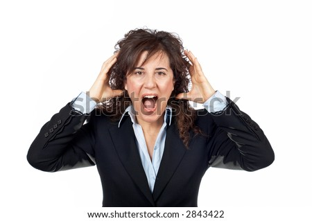 Angered businesswoman over a white background - stock photo