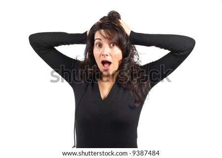 Angered young woman over a white background