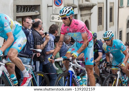 ANGHIARI, ITALY - MAY 12: Vincenzo Nibali, Team Astana, during the 9th stage of 2013 Giro d'Italia on May 12, 2013 in Anghiari, Italy - stock photo