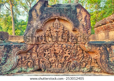 Angkor Banteay Srei temple close-up carving, Cambodia - stock photo