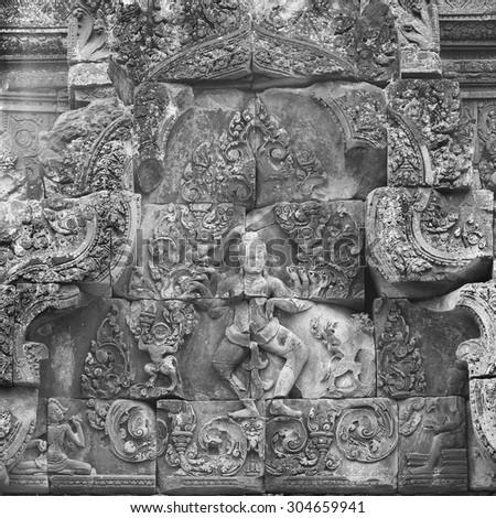 Angkor Banteay Srei temple close-up carving, Cambodia - stock photo