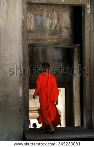 ANGKOR,CAMBODIA-OCTOBER 22, 2015: Young monk connects to the Internet in their free time  on October 22, Cambodia.