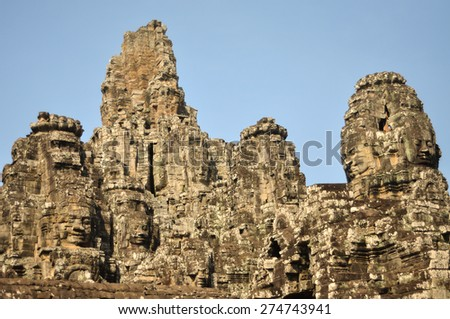 Angkor Thom in Siem Reap, ancient temple ruin city - stock photo