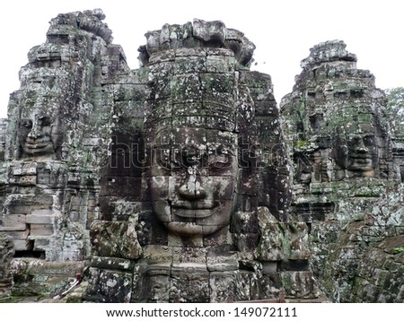 Angkor Thom ruins temple in Siem Reap, Cambodia - stock photo