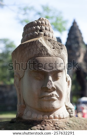Angkor thom, the best archeological site, Cambodia - stock photo