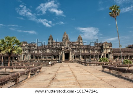 Angkor Wat � a world famous UNESCO World Heritage site in Cambodia - stock photo