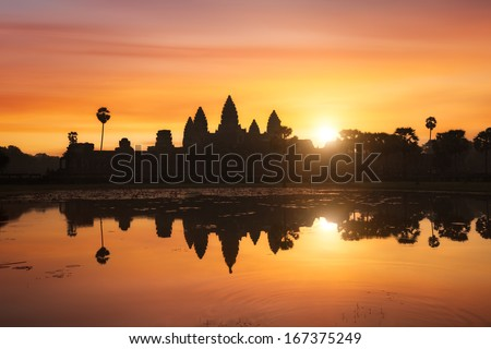 Angkor Wat at sunrise, Cambodia - stock photo