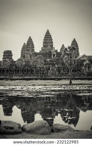 Angkor wat black and white style - stock photo