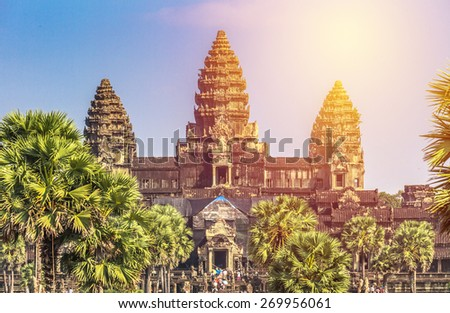 Angkor Wat Castle, Cambodia. Vintage filter. - stock photo