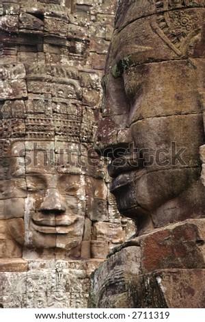 Angkor Wat Faces - stock photo