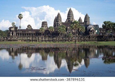 angkor wat , In front of angkor wat with reflex of angkor wat ,pond of angkor wat  - stock photo