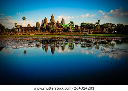 Angkor Wat lake - stock photo