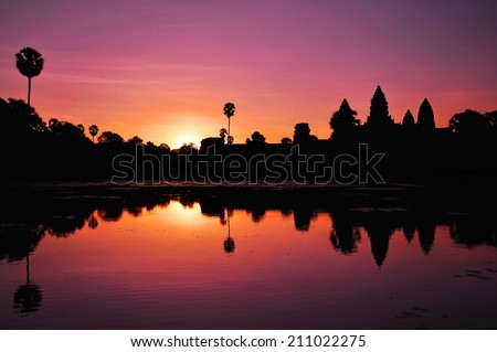 Angkor Wat temple at sunrise, Siem Reap, Cambodia - stock photo