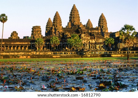 Angkor Wat Temple at sunset, Siem reap, Cambodia. - stock photo