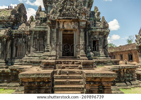 Angkor wat temple in Cambodia - stock photo