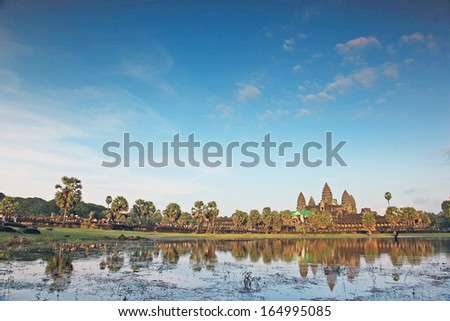 Angkor Wat Temple in Siem reap Province of Cambodia.  - stock photo
