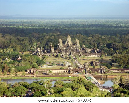 Angkor Wat Temple - view from a air baloon - Siem Reap, Cambodia - stock photo