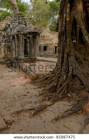 Angkor Wat trees and temple - stock photo