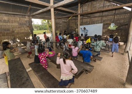 Angkor Wat village, SIEM REAP province, CAMBODIA - 7 Jan 2015: A classroom at a rural primary school in a small village just outside the famous Angkor Wat Temple complex.