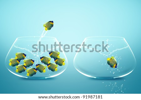 Angle fish jumping to Big bowl, Good Concept for new life, Big Opportunity, Ambition and challenge concept. - stock photo