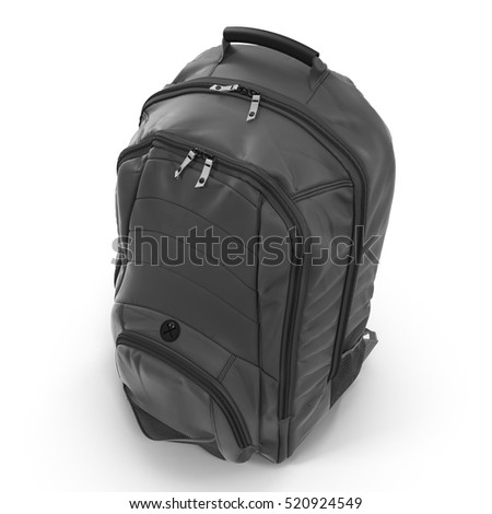 Angle from up Black backpack or back pack or school bag or rucksack isolated on white. 3D illustration