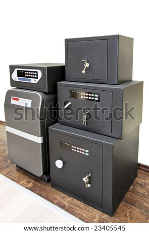 Angle shot of bunch black safe boxes - stock photo