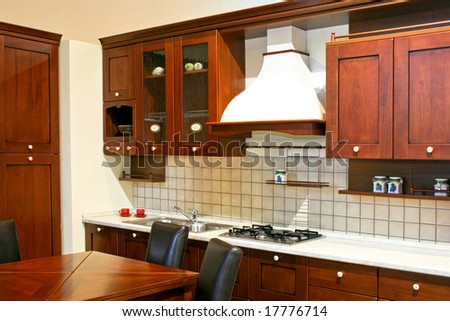 Dark Wood Country Kitchen interior shot american style wooden kitchen stock photo 30027193