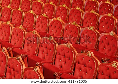 Angle shot of the seating rows inside of a theatre  - stock photo