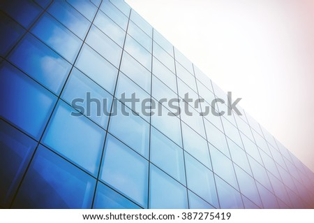 Angle view of modern skyscraper business district. Blue Skyscraper facade, office buildings. Modern glass silhouettes  skyscrapers. Horizontal mockup. 3d render