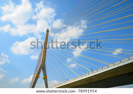 Angle view of Rama VIII  bridge in clear day - stock photo