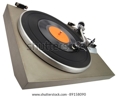 Angle view of vintage turntable isolated on white with clipping path - stock photo