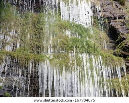 Angle view of waterfalls in the Canaima national park - Venezuela, South America