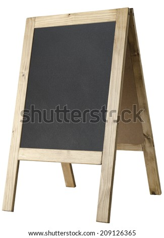 Angled, left facing view of a freestanding A-frame blackboard, board is blank to provide copy space and isolated against a white background. - stock photo