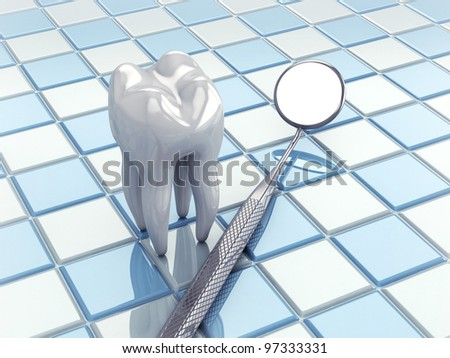 Angled mirror and tooth model on white and blue tiles - stock photo