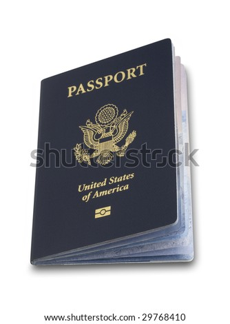 Angled us passport on white with clipping path