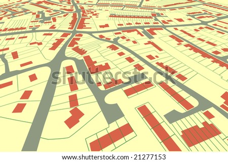 Angled view of a housing map in a generic town - stock photo