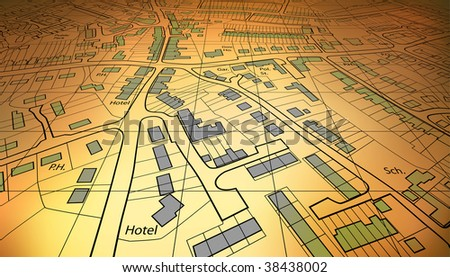 Angled view of a housing map of a generic town - stock photo