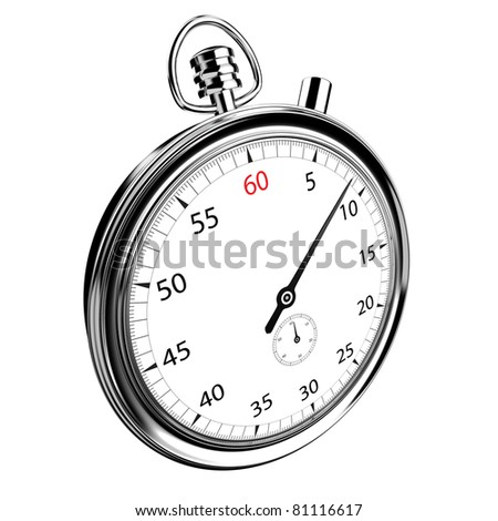 Angled view of an analogue stopwatch isolated on a white background. Clipping path included