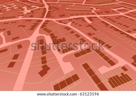 Angled view of an illustrated housing map in a generic town - stock photo