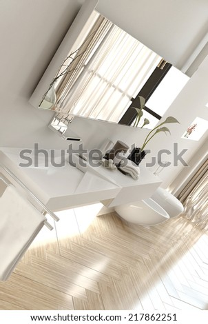 Angled View of Interior of Modern White Bathroom with Focus on Sink Area in Apartment - stock photo